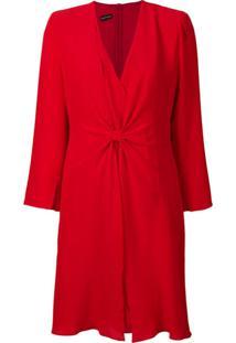 Emporio Armani Vestido Com Decote V - Vermelho