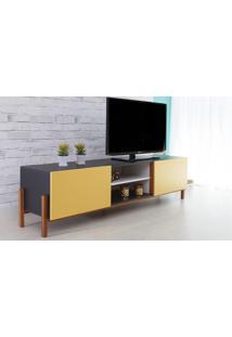 Rack De Tv Preto Moderno Vintage Retrô Com 2 Portas Amarela Eric - 186X43,6X48,5 Cm