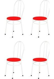 Kit 4 Cadeiras Baixas 0.134 Redonda Branco/Vermelho - Marcheli