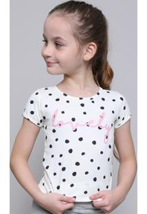 "Blusa Infantil Estampada De Poá ""Lovely"" Manga Curta Off White"