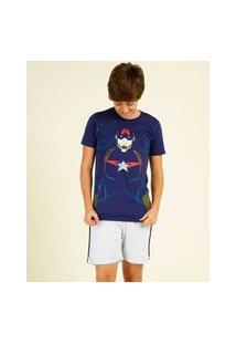 Pijama Juvenil Capitão América Avengers Marvel Tam 12 A 16