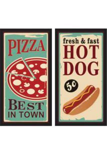 Conjunto Com 2 Quadros Decorativos Pizza Colorido