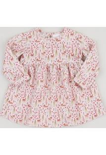 Vestido Infantil Bambi Estampado Texturizado Manga Longa + Calcinha Rosa Claro