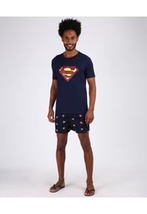 Pijama Masculino Tal Pai Tal Filho Super Homem Manga Curta Azul Marinho