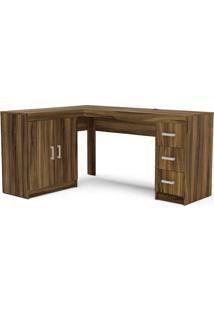 Escrivaninha Com 2 Portas E 3 Gavetas Espanha-Politorno - New Avelã