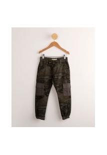 Calça Infantil Jogger De Sarja Estampada Camuflada Verde Militar