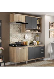 Cozinha Compacta 7 Portas 3 Gavetas Sicilia 5810 Argila/Grafite Premium - Multimóveis