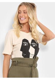 Camiseta Cantão Estampa Faces Feminina - Feminino-Bege+Rosa