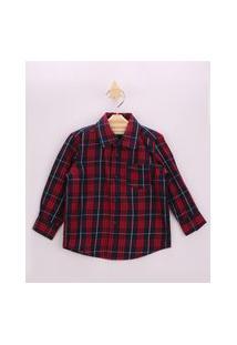 Camisa Infantil Estampada Xadrez Com Bolso Manga Longa Vermelha