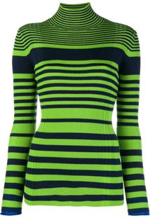 Victoria Victoria Beckham Camisa Polo Listrada Canelada - Green