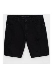 Bermuda Slim Com Puídos Em Jeans | Blue Steel | Preto | 38