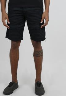 Bermuda De Sarja Masculina Slim Listrada Preto