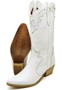Bota Texana Country Su Fashion Store Couro Cano Longo Bico Fino Feminina - Feminino-Branco