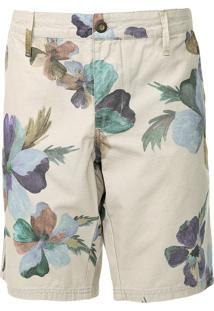 Bermuda Sarja Colcci Chino Floral Bege
