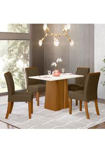 Conjunto De Mesa Com 4 Cadeiras Para Sala De Jantar Veneza-Henn - Nature / Off White / Bege