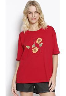 """Camiseta """"Sunflower"""" - Vermelha & Amarela - Sommersommer"""