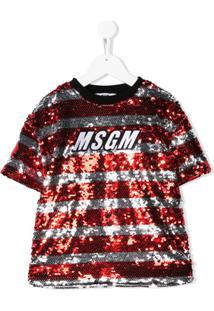 Msgm Kids Vestido Com Listras E Paetês - Vermelho