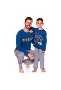 Pijama Pai E Filho Evanilda Camiseta Manga Longa E Calça Spider Man Azul E Mescla
