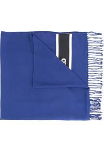 Karl Lagerfeld Cachecol De Tricô Com Logo - Azul