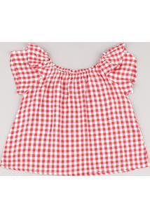 Blusa Infantil Estampada Xadrez Vichy Com Babado Manga Curta Vermelha
