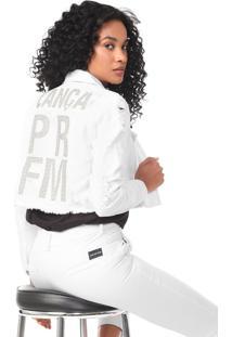 Jaqueta Sarja Cropped Lança Perfume Aplicações Branca