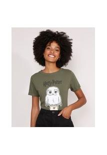 Camiseta Harry Potter Edwiges Manga Curta Decote Redondo Verde Militar