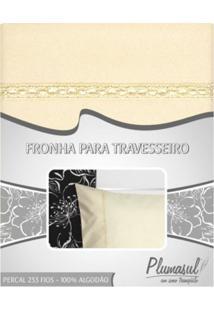 Fronha-Percal 233 Fios-Bege Com Sianinha Bege-50X90