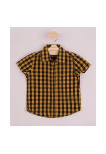 Camisa Infantil Estampada Xadrez Com Bolso Manga Curta Amarela
