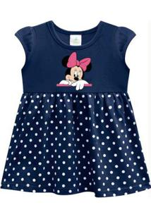 Vestido Bebê Menina Disney Azul Marinho