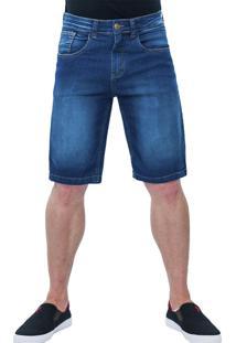 Bermuda Jeans Masculina Frozini Elastano Slim Destroy