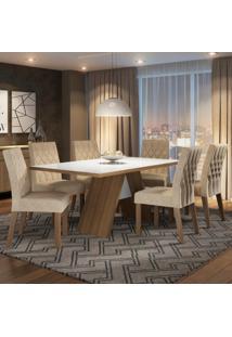 Conjunto Sala De Jantar Madesa Nicole Mesa Tampo De Vidro Com 6 Cadeiras Marrom - Tricae