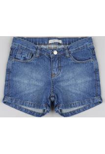 Short Jeans Infantil Reto Azul Médio