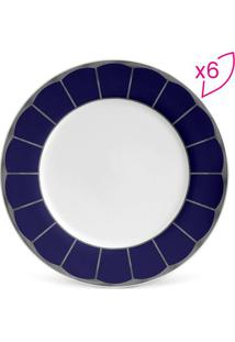 Jogo De Pratos Para Sobremesa Flat Cobalt- Branco & Azulporto Brasil