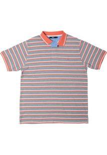 Camisa Polo Listrada Cinza Claro M