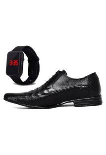 Sapato Social Com Relógio Led Dubuy 901Mr Preto