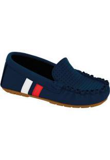 Sapato Molekinho Marinho Com Perfuros