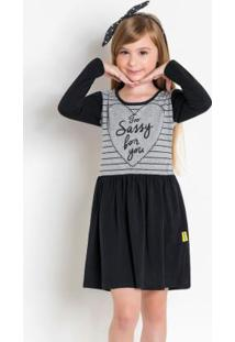 Vestido Infantil De Manga Longa Preto E Mescla