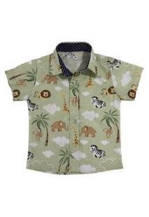 Camisa Social Menino Mabu Denim Verde Claro