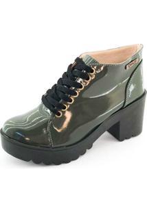 Bota Coturno Quality Shoes Feminina Verde Musgo Verniz 38