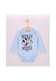 Body Infantil Mickey E Pluto Manga Longa Azul Claro
