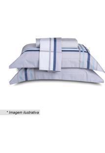 Jogo De Cama Grid King Size- Cinza Claro & Azul- 4Pã§Sultan