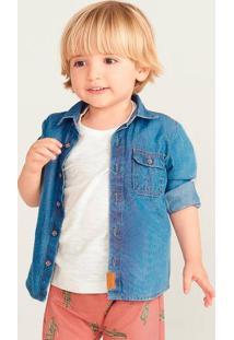 Camisa Bebê Menino Em Jeans De Algodão