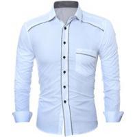 3949ec2f3b Camisa Social Masculina Slim Fit Com Detalhe Estampado Manga Longa - Branco