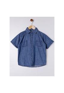 Camisa Jeans Manga Curta Juvenil Para Menino - Azul