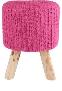 Puff Madeira Algodao Poliester Crochet 3 Feet Pink 30 X 38 X 30 Cm Urban