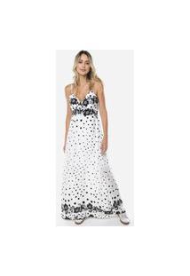 Vestido Longo Estampado Floral E Bolinhas Viscose Sob Branco