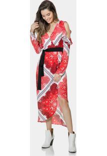 Vestido Mídi Estampado Cinto Tecido Bandana - Lez A Lez