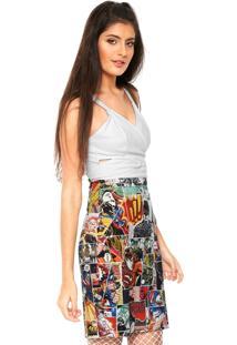 Vestido Fashion Comics Curto Recortes Branco/Laranja