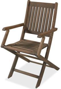 Cadeira Dobravel Com Braco Stain Nogueira Cor Escura 16751 - Sun House