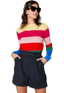 Suéter Listrado Com Lurex